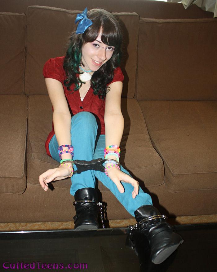 Allie in speedcuffs and leg irons