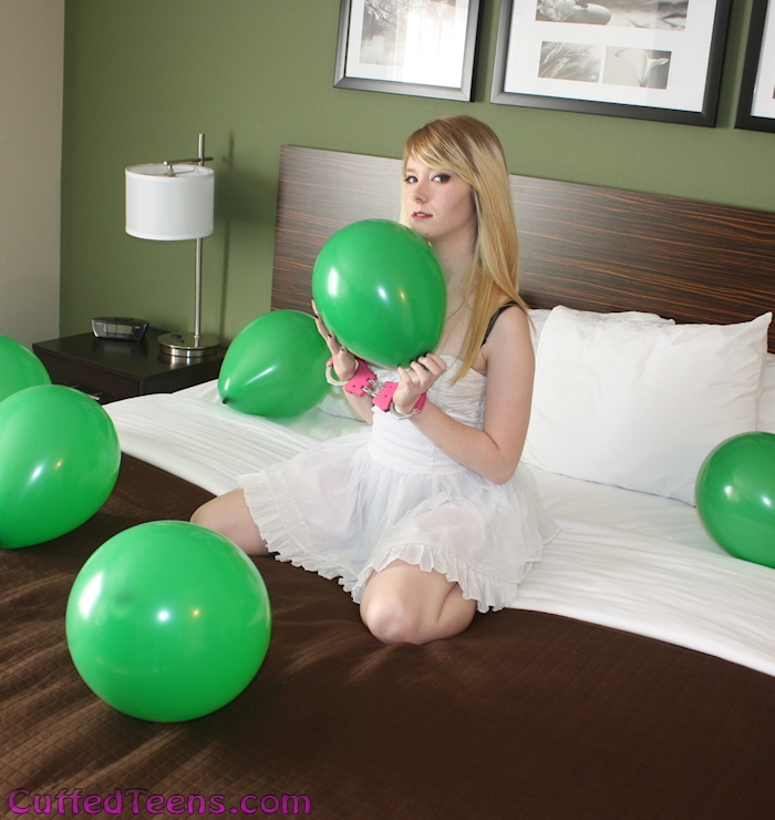 Six green balloons