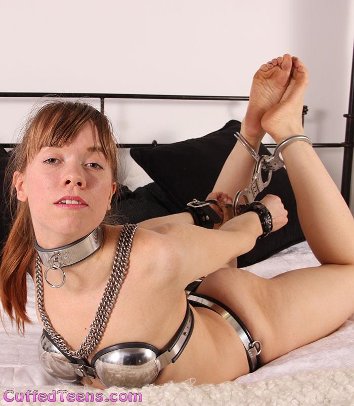 Josie – chastity babe hogcuffed