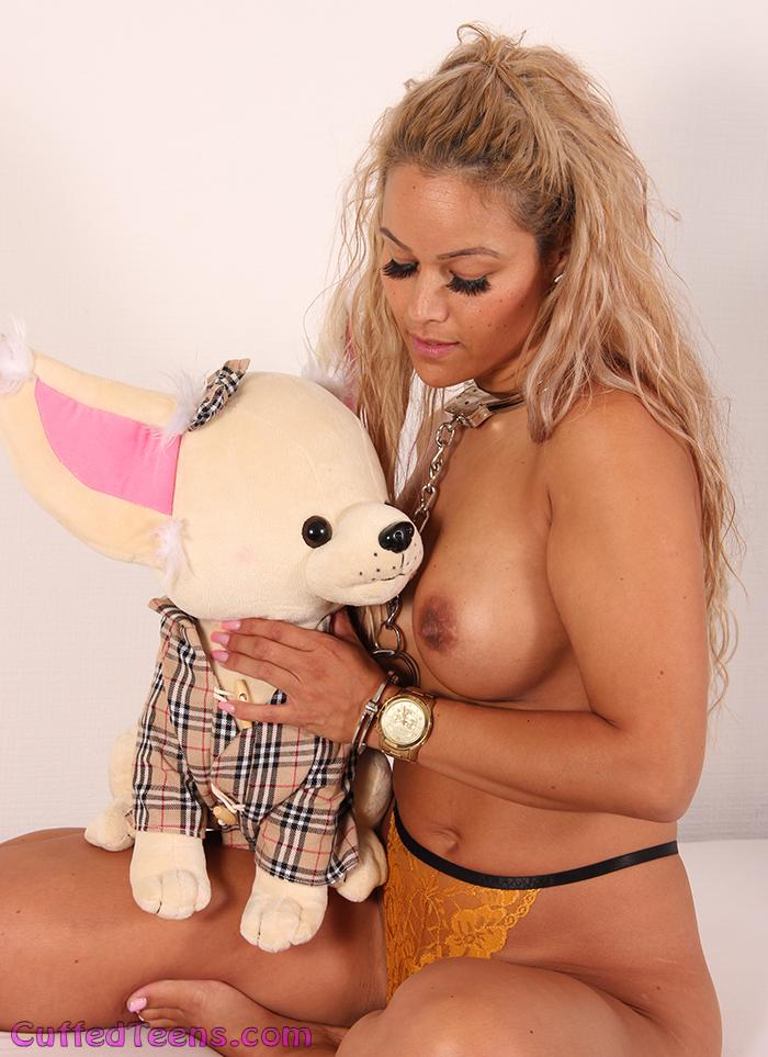New girl Sasha in cuffs